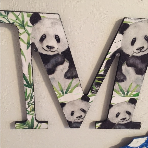 """Other - Wooden Letter M Panda 9.5"""" Price Firm"""